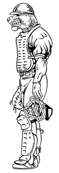 Baseball Catcher Bear Mascot Decal / Sticker
