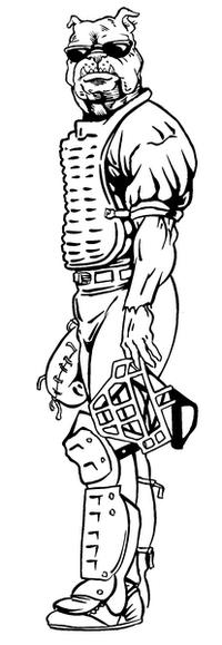 Baseball Bulldog Mascot Decal / Sticker 01