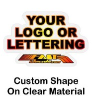 Custom shaped stickers on clear background