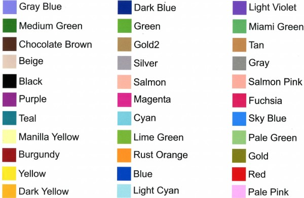 Printed Decal Color Chart