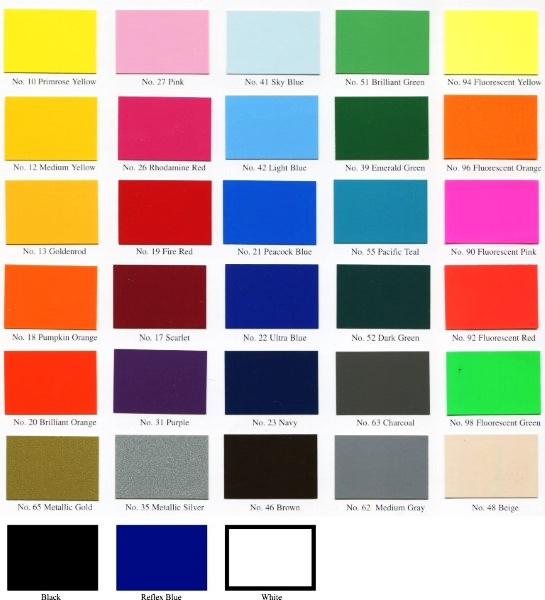 Spot color chart for decals and sticker