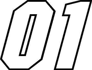 01 Race Number Motor Outline Font Decal / Sticker