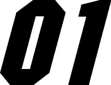 01 >> 01 Race Number Motor Font Decal Sticker