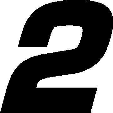 2 RACE NUMBER EUROMODE BOLD FONT DECAL STICKER