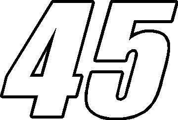 45 RACE NUMBER OUTLINE IMPACT FONT DECAL / STICKER