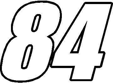84 RACE NUMBER IMPACT FONT DECAL / STICKER 01