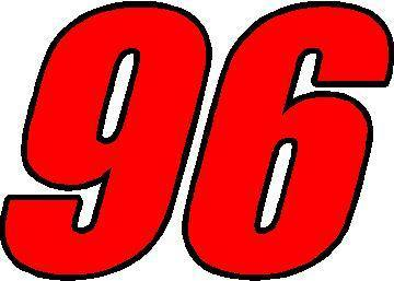 96 Race Number 2 Color Impact Font Decal Sticker