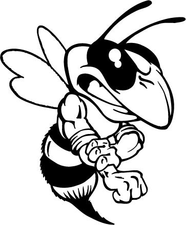 Hornet Yellow Jacket Bee Mascot Decal Sticker Beams02