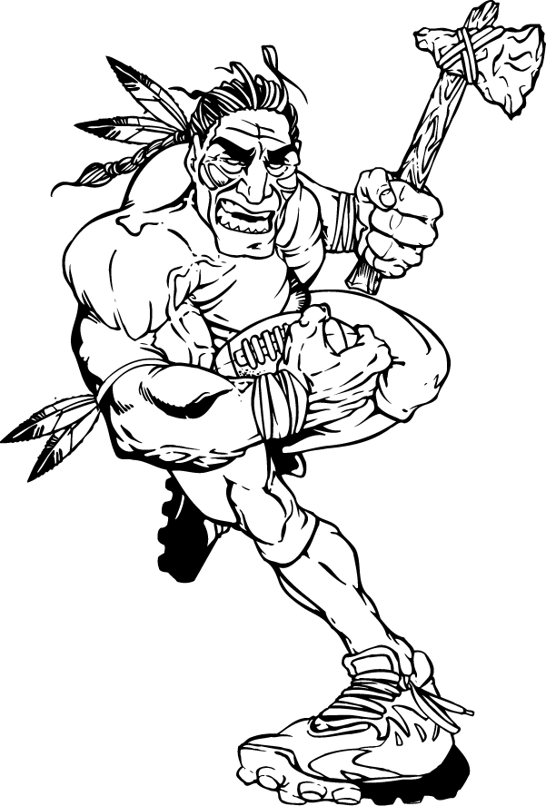 Football Braves / Indians / Chiefs Mascot Decal / Sticker 02