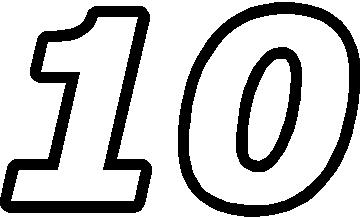 10 race number outline decal sticker