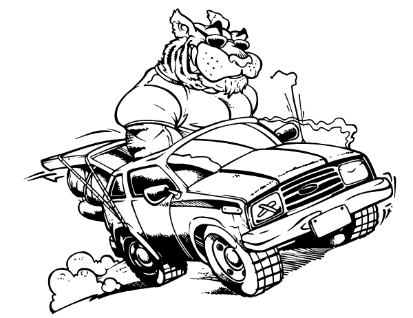 Tiger Mascot Driving A Car Decal Sticker
