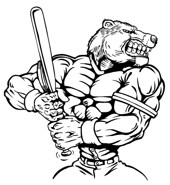 BASEBALL BATTER BEAR MASCOT DECAL / STICKER