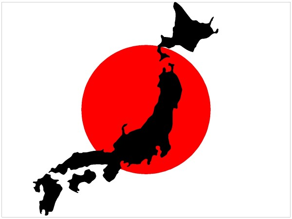 flag decals :: japan flag with map decal / sticker