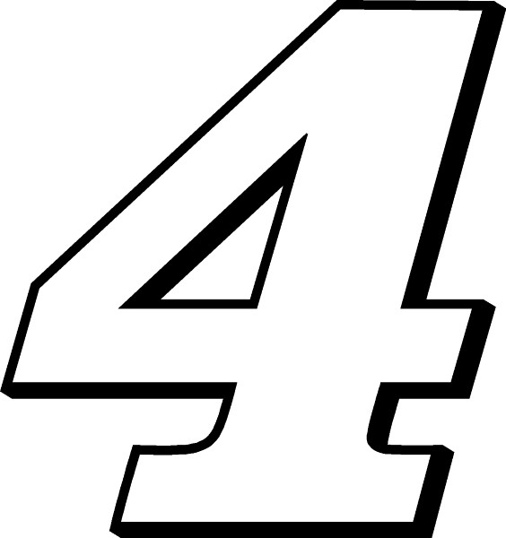 Race Number 4 Decal Sticker Outline
