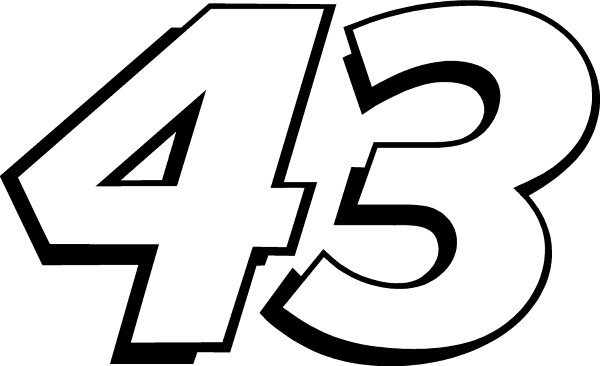 OUTLINED 43 RACE NUMBER DECAL / STICKER b