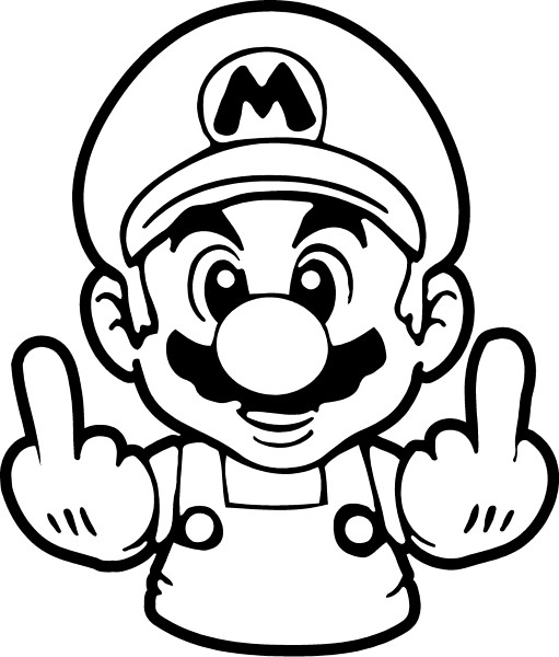 MARIO GIVING THE FINGER DECAL / STICKER 05