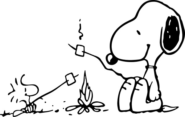 snoopy and woostock roasting marshmallows around a