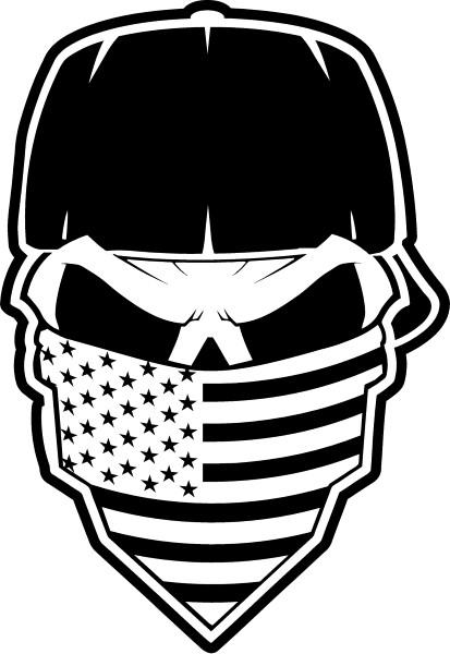 Skull American Flag Bandana Decal Sticker 36