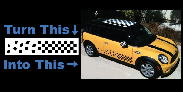 Custom checkered flag decal / sticker for a mini cooper