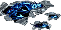 Blue Torn Dragon Graphic Decal / Sticker