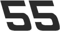 55 Race Number Hemihead Font Decal / Sticker