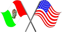Mexican and American flags Decal / Sticker