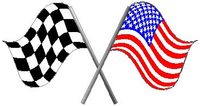 Checkered and USA flags Decal / Sticker