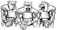 Football Bulldog Mascot Decal / Sticker 11