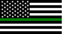 Thin Green Line American Flag Decal / Sticker 98