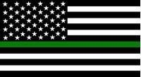 Thin Green Line American Flag Decal / Sticker 98
