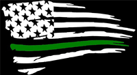 Thin Green Line American Flag Decal / Sticker 104