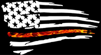 Thin Red Line True Fire American Flag Decal / Sticker 105