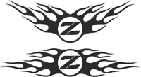 Nissan Z Flames Decal / Sticker Angle Up Design