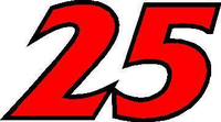 25 Race Number 2 Color France Bold Font Decal / Sticker