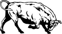 Charging Bull Mascot Decal / Sticker