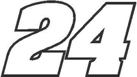 24 Race Number Aardvark Bold Font Decal / Sticker