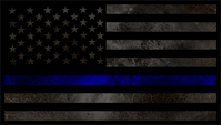 Distressed Thin Blue Line American Flag Decal / Sticker 64