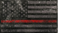 Distressed Thin Red Line American Flag Decal / Sticker 66