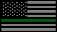 Thin Green Line American Flag Decal / Sticker 84