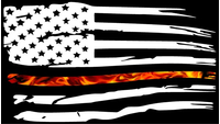 Thin Red Line True Fire American Flag Decal / Sticker 107
