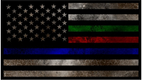 Thin Blue/Red/Green Line American Flag Decal / Sticker 91