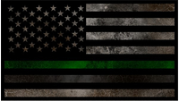 Distressed Thin Green / Gray Line American Flag Decal / Sticker 115