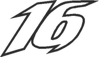 16 Race Number Outline Decal / Sticker