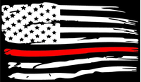 Thin Red Line American Flag Decal / Sticker 102