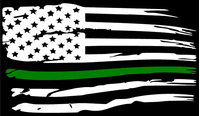 Thin Green Line American Flag Decal / Sticker 103