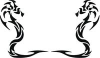 Tribal Sea-Horse Decal / Sticker 02
