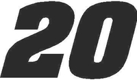 20 Race Number Aardvark Bold Font Decal / Sticker