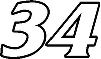 34 Race Number Decal / Sticker OUTLINE