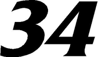 34 Race Number Decal / Sticker SOLID