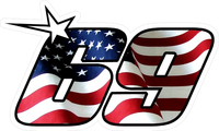 69 Nicky Hayden American Flag Decal / Sticker b